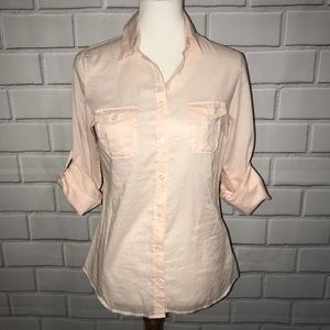 J CREW Pale Pink Tissue Button Down Shirt Cotton 4